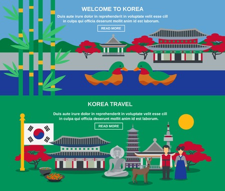korea food: Welcome to korea two flat banners for webpage with mandarin ducks national symbol and landmarks abstract vector illustratio
