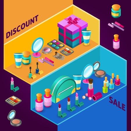 productos de belleza: cosméticos isométrica composición de diseño para la venta con productos de maquillaje y la ilustración vectorial caja de regalo Vectores