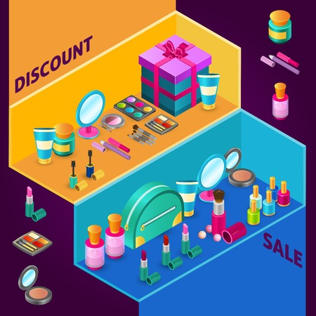 perfume spray: Isometric cosmetics design composition for sale with makeup products and gift box vector illustration