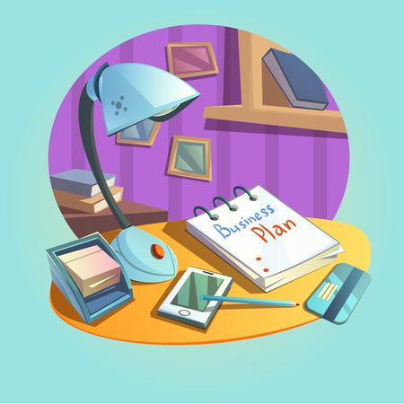 articulos de oficina: concepto de lugar de trabajo de negocios con escritorio y artículos de oficina estilo retro de dibujos animados ilustración vectorial Vectores
