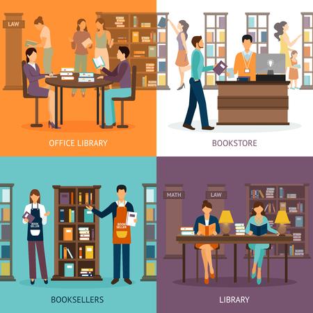 biblioteca: Conjunto de imágenes de 2x2 que presentan escenas de servicios de la biblioteca como biblioteca y librería libreros ilustración vectorial plana