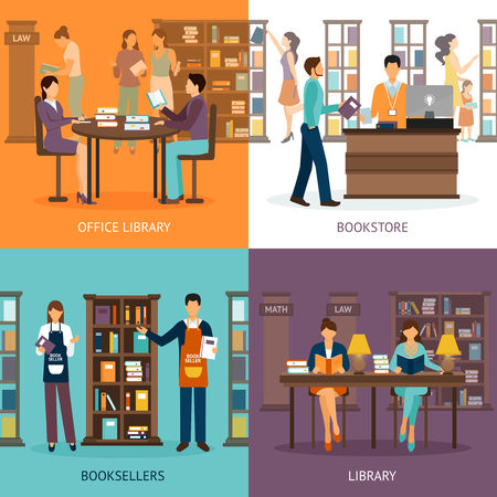 Set of 2x2 images presenting scenes of library services like library bookstore and booksellers flat vector illustration Vettoriali