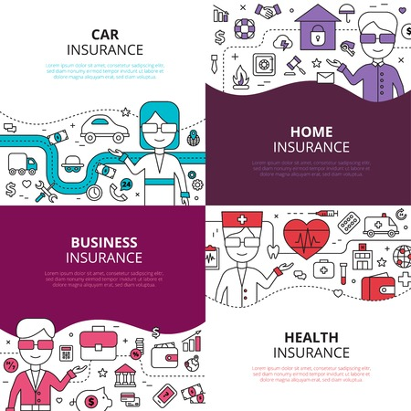 políticas empresariales salud en el hogar y seguro de auto concepto 4 iconos lineales composición diseño cuadrado ilustración vectorial abstracto