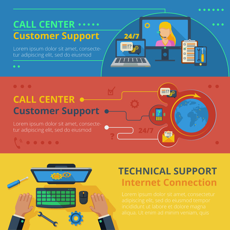 vectro: Support horizontal banner set with technical call center flat elements isolated vectro illustration