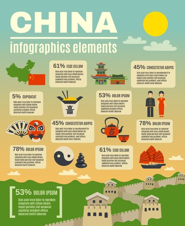 traditions: Infographic presentation elements composition poster on chinese  cultural traditions rituals food and sightseeing objects abstract vector illustration