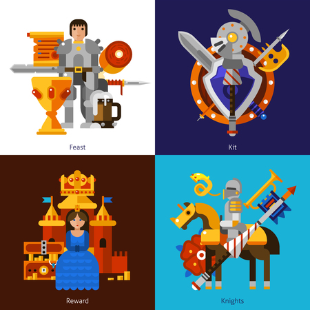 feast: Small flat 2x2 banners with feast reward knights and kit of medieval weapons vector illustration