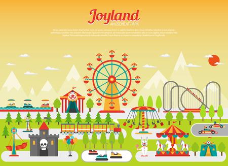 concepto de parque de atracciones de feria con elementos planos con las montañas en el fondo de la ilustración del vector Ilustración de vector