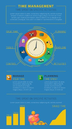 business time: Best time management tips for profitable and successful business projects management infographics presentation poster abstract vector illustration Illustration
