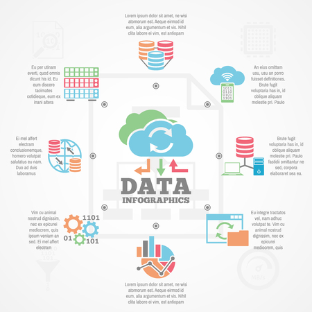 comprehensive: Data analytics comprehensive informative infographic banner with flat icons and text block composition abstract vector illustration