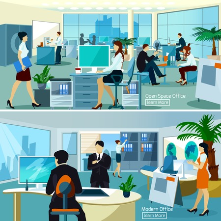 office break: Flat color compositions with people talking and working at computers in open space office vector illustration Illustration