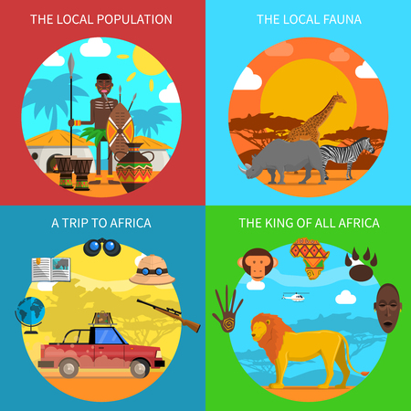 fauna: Safari design concept set with african fauna flat icons isolated vector illustration