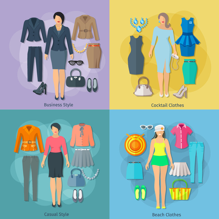 cocktail dress: Woman clothes concept square composition of business cocktail beach and casual styles icons set flat vector illustration
