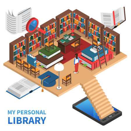 electronic book: Personal library isometric concept with lots of books and bookshelves vector illustration