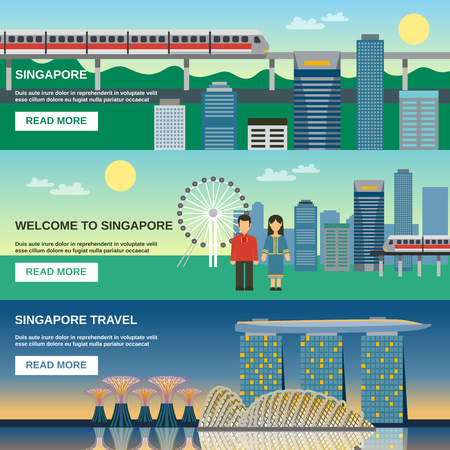 Singapore best tourist attractions webpage 3 flat horizontal banners with night cityscape and sightseeing pictures abstract vector illustration