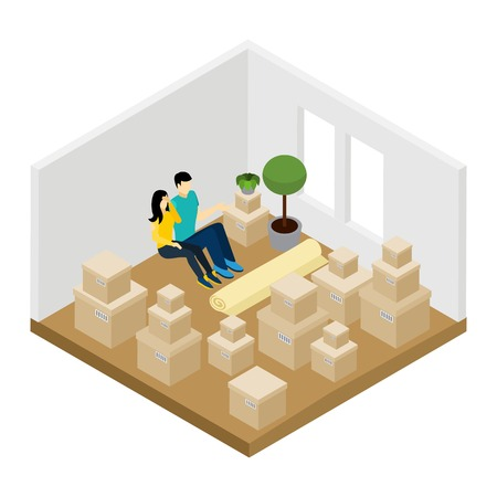 belongings: Moving in a new apartment with lots of boxes isometric vector illustration