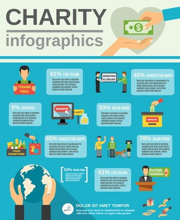 pobre: infografía Caridad establece con donaciones de alimentos y símbolos Ilustración vectorial plana