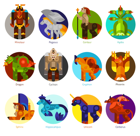 creature: Mythical creatures flat icons set with classic mythology animals isolated vector illustration