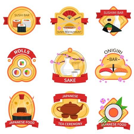 comida japonesa: Sushi y la ilustración vectorial aislado del conjunto de etiquetas de comida japonesa tradicional Vectores