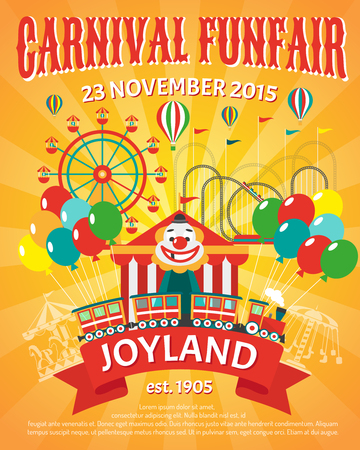 Carnival funfair promo poster with clown and party balloons vector illustration