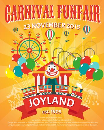 Carnival kermis promo poster met clown en ballonnen partij vector illustratie