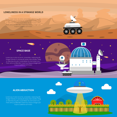 abduction: Cosmos horizontal banner set with alien abduction elements isolated vector illustration