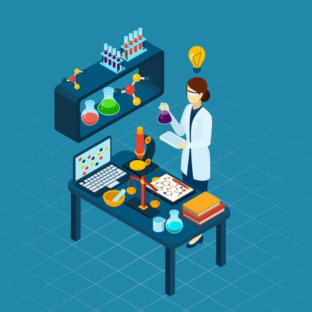 educative: Scientific research in molecular biology or chemistry with professional woman in laboratory at work abstract isometric vector illustration