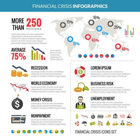 business risk: World global financial crisis and business risk reduction in recession statistic analysis with diagrams infographics layout vector illustration Illustration
