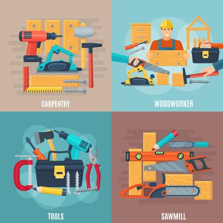herramientas de carpinteria: concepto de dise�o de carpinter�a conjunto de herramientas del carpintero y equipos aserradero ilustraci�n vectorial plana composici�n de la plaza