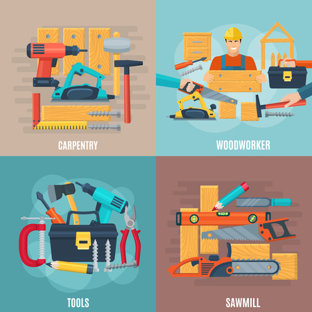 Carpentry design concept set of woodworker tools and sawmill equipment square composition flat vector illustration Illustration