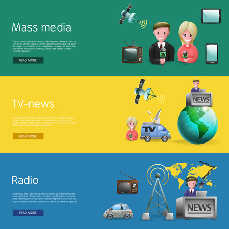 vetor: Horizontal banners set of mass media industry with news presenters tv and radio broadcasting cartoon vetor illustration