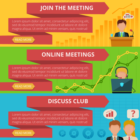 to discuss: Meeting horizontal banner set with online discuss club flat elements isolated vector illustration
