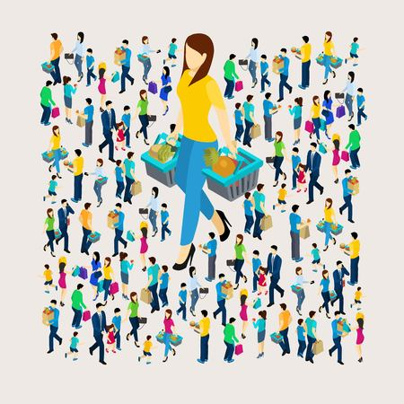 Shopping concept with men and women holding bags isometric vector illustration