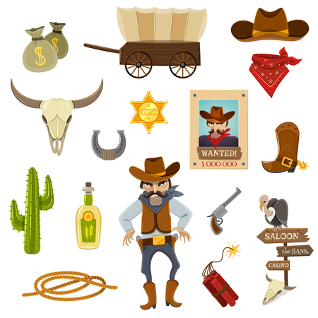 cartoon bank: Cowboy icons set with dynamite skull and horseshoe cartoon isolated vector illustration