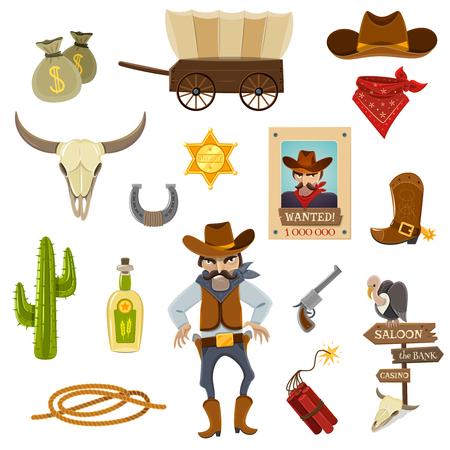 botas vaqueras: Iconos vaquero establecidos con el cráneo dinamita y de herradura de dibujos animados ilustración vectorial aislado