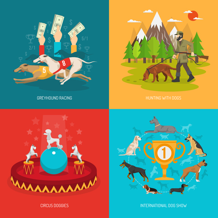 breeds: Dog breeds design concept set with circus racing and hunting animals flat icons isolated vector illustration