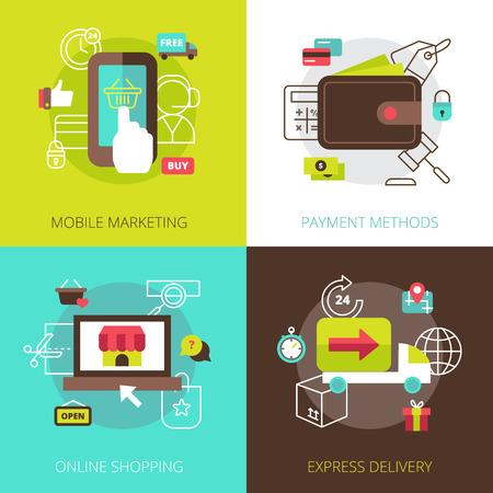 trustworthy: Online shopping marketing methods and secure payment options 4 flat icons square composition abstract vector isolated illustration