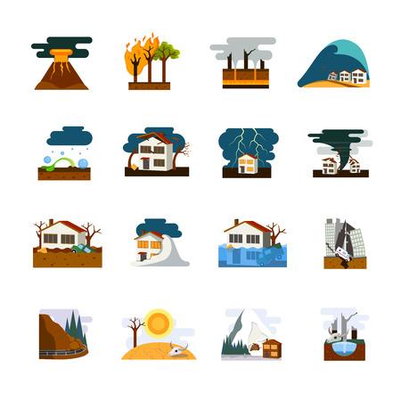 Mondo peggiori disastri naturali simboli collezione appartamento pittogrammi con terremoto tsunami e pericolo di valanghe isolato illustrazione vettoriale Vettoriali