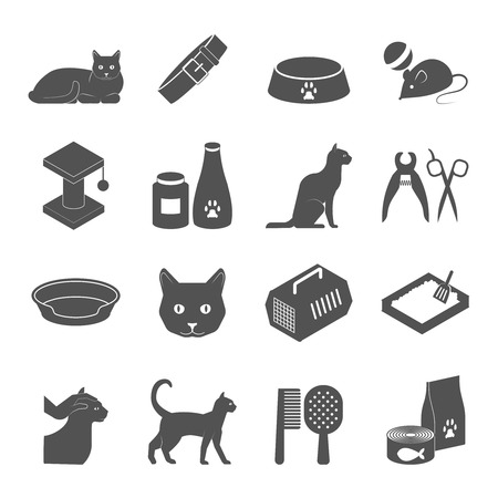 toilet brush: Raising healthy indoor cat black icons set with food and care products supply abstract isolated vector illustration