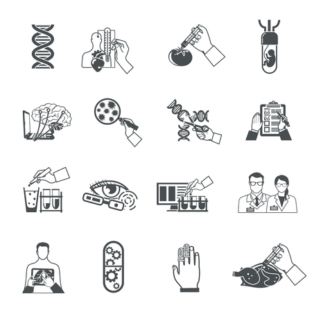 biotech: Biotechnology black icons set of scientific research in field of genetic engineering and nanotechnology isolated vector illustration