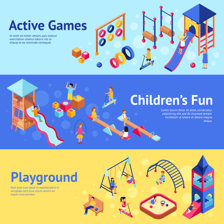 Playground horizontal banner set with isometric children playing active games isometric vector illustration