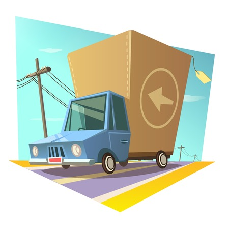 paper delivery person: Warehouse and shipping concept with retro cartoon style delivery truck vector illustration