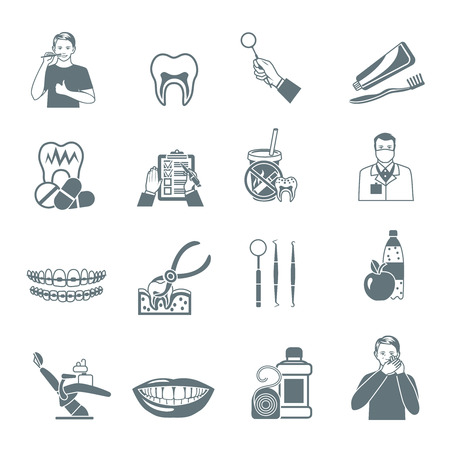 smile icon: Black icons set of instruments for dental treatment and teeth care products flat isolated vector illustration