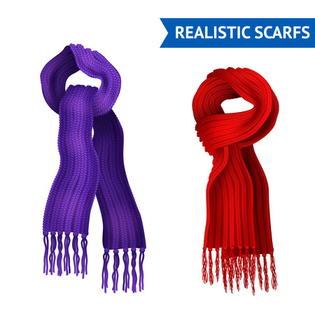 scarf: Realistic 3d image set of 2 knitted scarf purple and red color tied isolated vector illustration