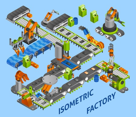 assembly line: Industrial factory concept with isometric robots and machinery vector illustration