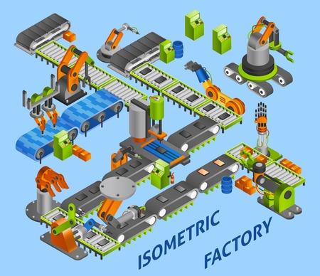 fabrik: Industrielle Fabrik Konzept mit isometrischen Roboter und Maschinen Vektor-Illustration