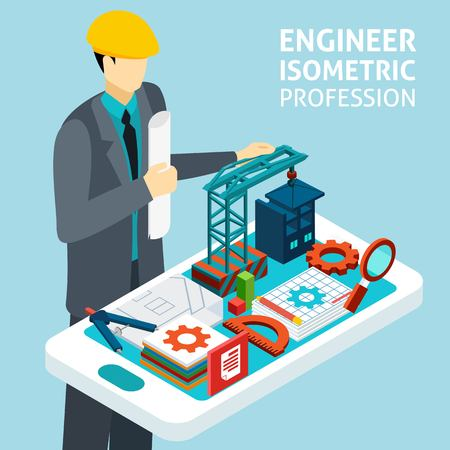 Construction engineer in helmet with architectural buildings model and technical drawing plan isometric banner abstract vector illustration