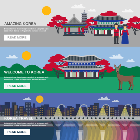 information  isolated: Korean cultural traditions symbols and landmarks information for tourists 3 flat horizontal interactive banners isolated vector illustration