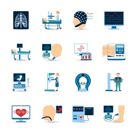 medical test: Medical examination icons set with x-ray and blood test symbols flat isolated vector illustration