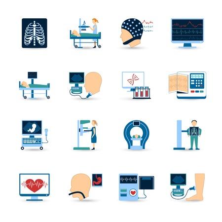 Medisch onderzoek pictogrammen die met x-ray en bloedonderzoek symbolen flat geïsoleerd vector illustratie