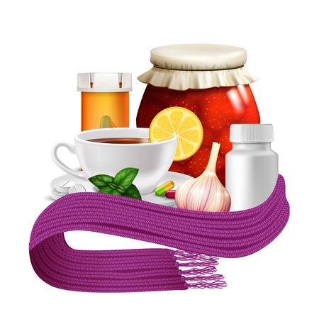 remedies: Anti-virus remedies set with realistic tea cup lemon warm scarf and pills vector illustration Illustration